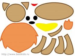 Схема для аппликации Львенок цветная, нажмите, чтобы увеличить.