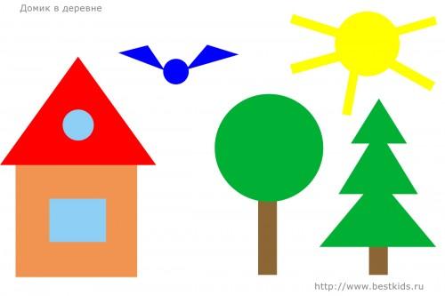 Домик в деревне, аппликация из геометрических фигур