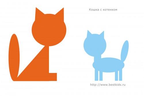 Кошка с котенком, аппликация из геометрических фигур