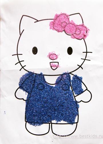 Аппликация из цветного песка Hello kitty
